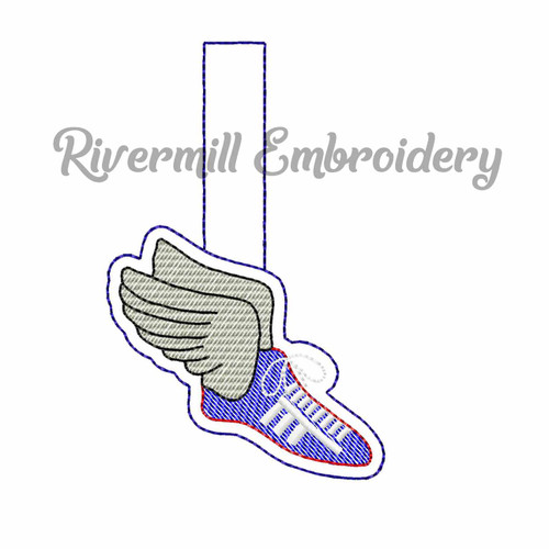 Track Shoe In The Hoop Snap Tab Key Fob Machine Embroidery Design