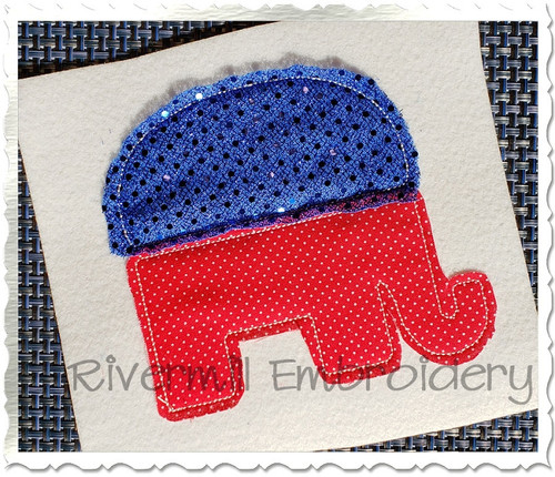 Republican Elephant Raggy Applique Machine Embroidery Design