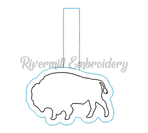 Buffalo In The Hoop Snap Tab Key Fob Machine Embroidery Design