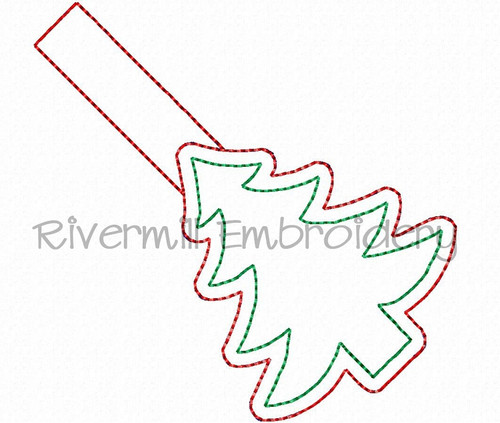 Christmas Tree In The Hoop Snap Tab Key Fob Machine Embroidery Design