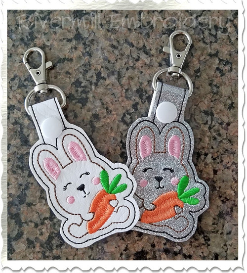 Bunny With A Carrot In The Hoop Snap Tab Key Fob Machine Embroidery Design