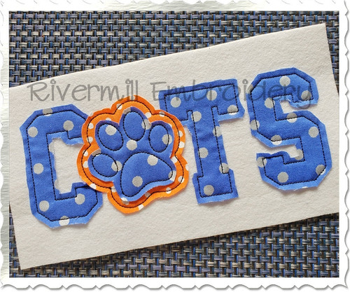 Raggy Applique Cats with a Paw Print Machine Embroidery Design