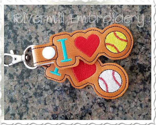I Heart Baseball / Softball In The Hoop Snap Tab Key Fob Machine Embroidery Design