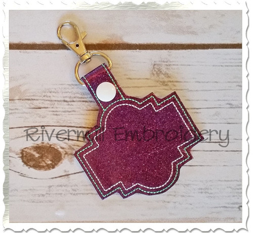 Blank Frame #2 In The Hoop Snap Tab Key Fob Machine Embroidery Design