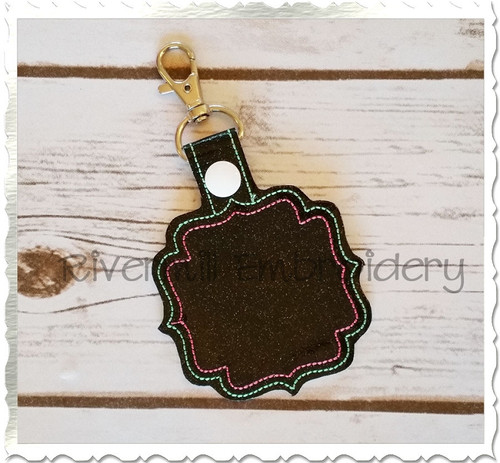 Blank Frame #4 In The Hoop Snap Tab Key Fob Machine Embroidery Design
