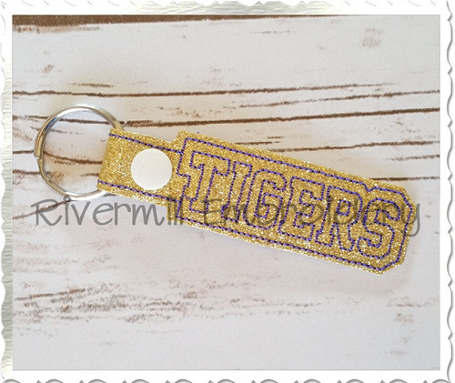 Tigers In The Hoop Snap Tab Key Fob Machine Embroidery Design