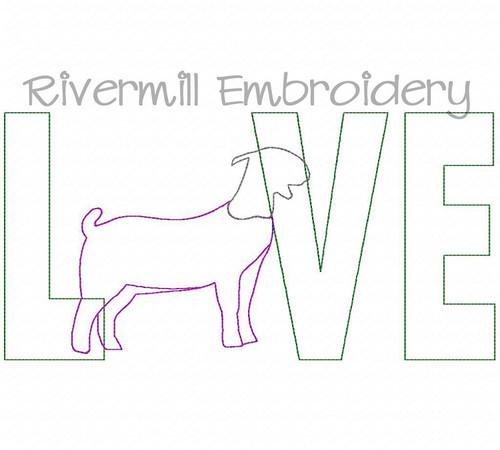 Raggy Applique Goat Love Machine Embroidery Design