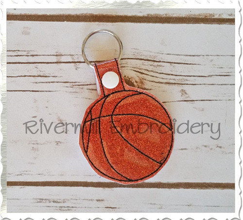 Basketball In The Hoop Snap Tab Key Fob Machine Embroidery Design