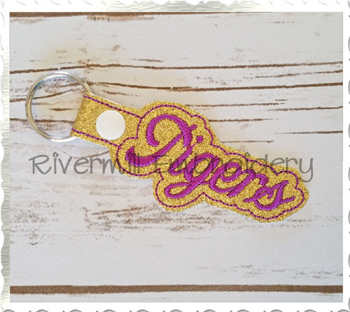 Tigers In The Hoop Snap Tab Key Fob Machine Embroidery Design (Version 2)