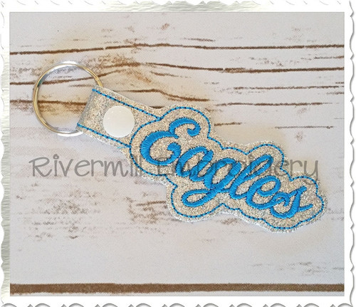 Eagles In The Hoop Snap Tab Key Fob Machine Embroidery Design