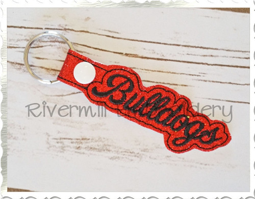 Bulldogs In The Hoop Snap Tab Key Fob Machine Embroidery Design