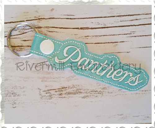 Panthers In The Hoop Snap Tab Key Fob Machine Embroidery Design