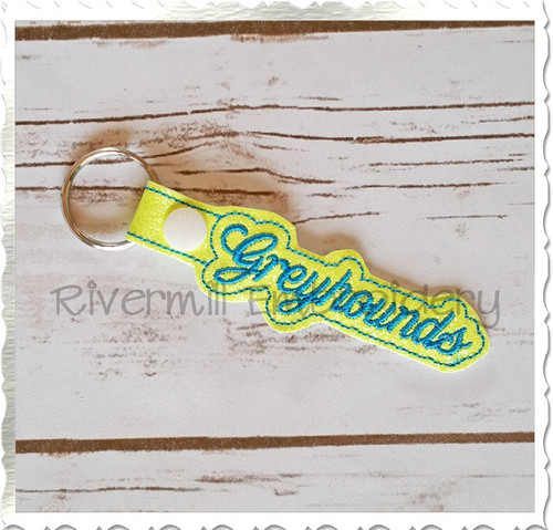 Greyhounds In The Hoop Snap Tab Key Fob Machine Embroidery Design