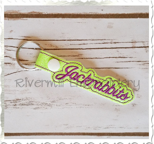 Jackrabbits In The Hoop Snap Tab Key Fob Machine Embroidery Design