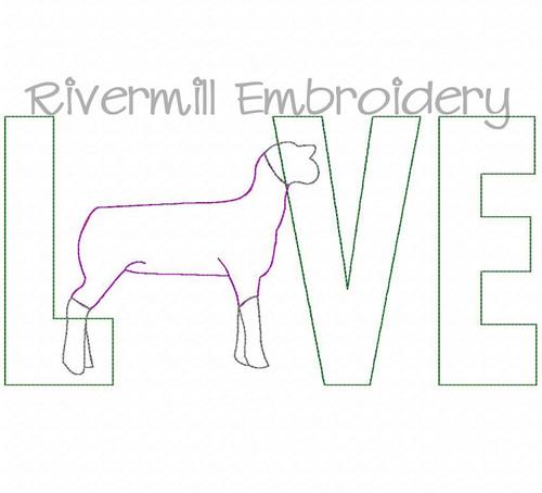 Raggy Applique Sheep / Lamb Love Machine Embroidery Design