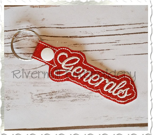 Generals In The Hoop Snap Tab Key Fob Machine Embroidery Design