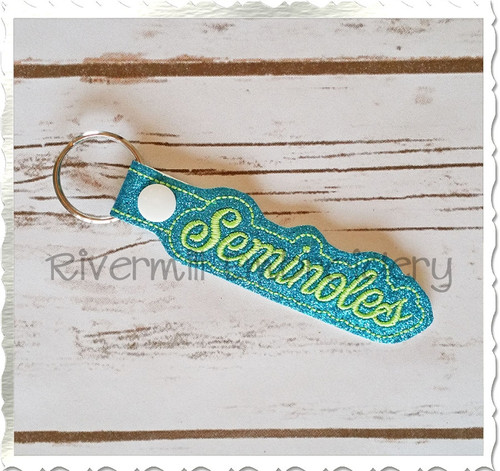 Seminoles In The Hoop Snap Tab Key Fob Machine Embroidery Design