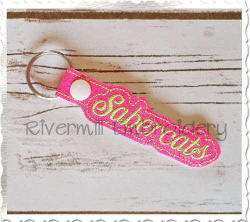 Sabercats In The Hoop Snap Tab Key Fob Machine Embroidery Design