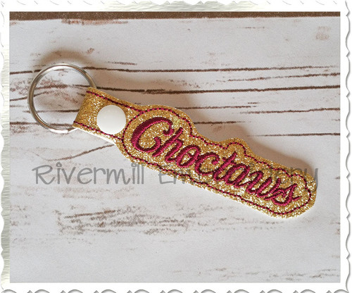 Choctaws In The Hoop Snap Tab Key Fob Machine Embroidery Design