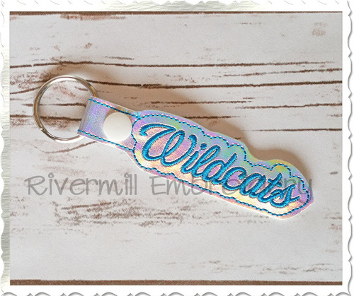 Wildcats In The Hoop Snap Tab Key Fob Machine Embroidery Design