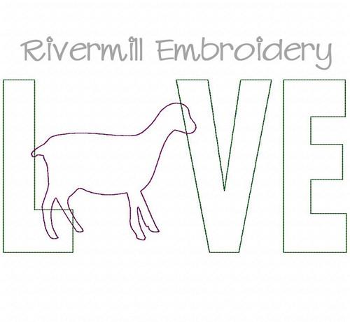 Raggy Applique Lamancha Goat Love Machine Embroidery Design