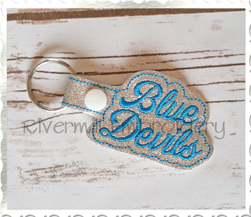 Blue Devils In The Hoop Snap Tab Key Fob Machine Embroidery Design