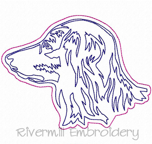 Raggy Applique Long Haired Dachshund Face Machine Embroidery Design