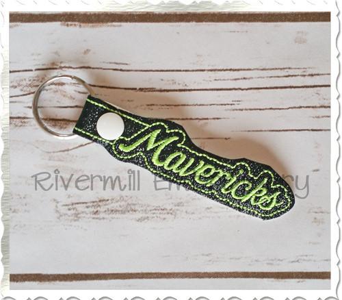 Mavericks In The Hoop Snap Tab Key Fob Machine Embroidery Design
