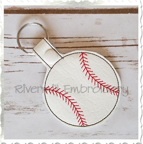 Baseball or Softball In The Hoop Snap Tab Key Fob Machine Embroidery Design