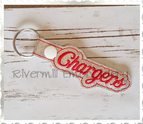 Chargers In The Hoop Snap Tab Key Fob Machine Embroidery Design