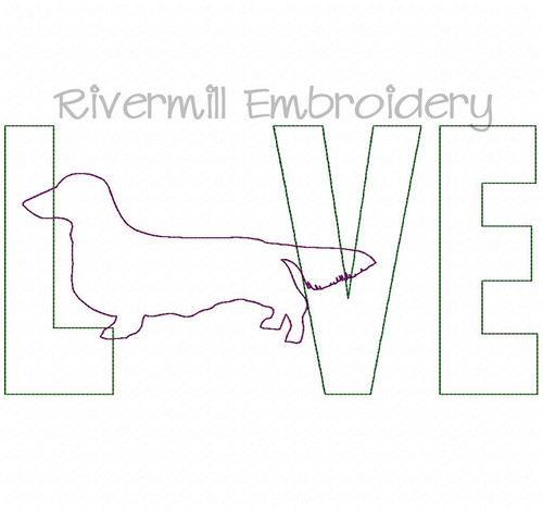 Raggy Applique Long Haired Dachshund Love Machine Embroidery Design