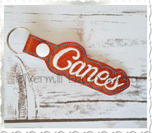 Canes In The Hoop Snap Tab Key Fob Machine Embroidery Design