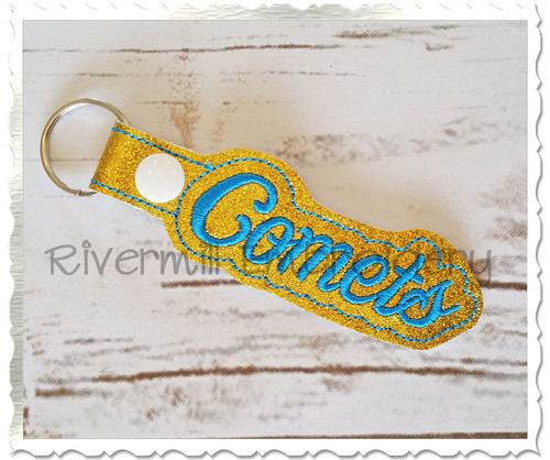 Comets In The Hoop Snap Tab Key Fob Machine Embroidery Design