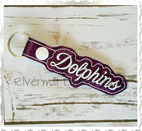 Dolphins In The Hoop Snap Tab Key Fob Machine Embroidery Design