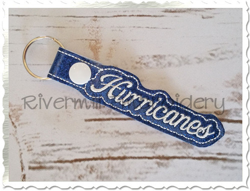 Hurricanes In The Hoop Snap Tab Key Fob Machine Embroidery Design
