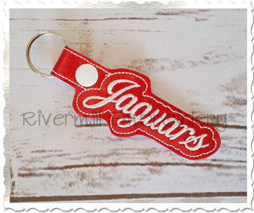 Jaguars In The Hoop Snap Tab Key Fob Machine Embroidery Design