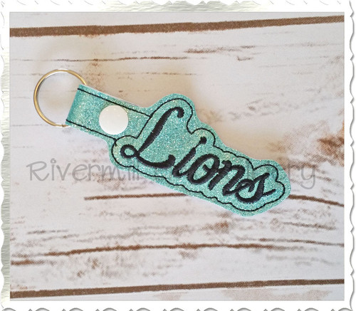 Lions In The Hoop Snap Tab Key Fob Machine Embroidery Design