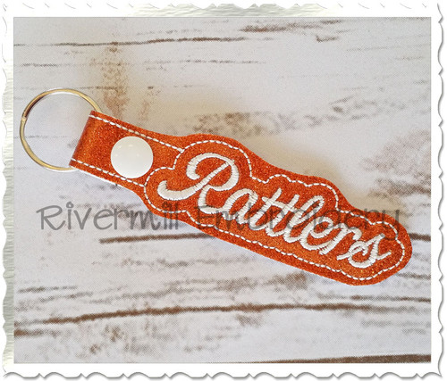 Rattlers In The Hoop Snap Tab Key Fob Machine Embroidery Design