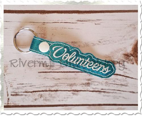 Volunteers In The Hoop Snap Tab Key Fob Machine Embroidery Design