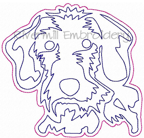Raggy Applique Wire Haired Dachshund Face Machine Embroidery Design