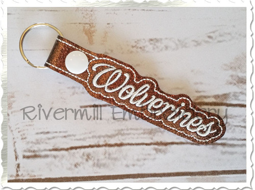 Wolverines In The Hoop Snap Tab Key Fob Machine Embroidery Design