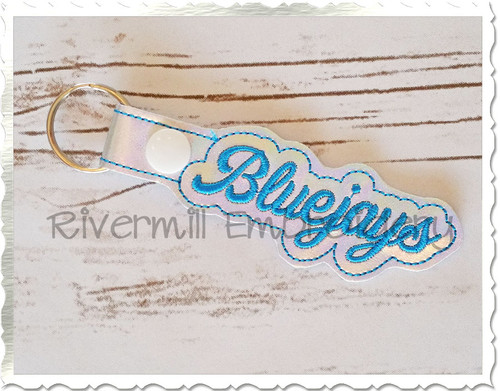 Bluejays In The Hoop Snap Tab Key Fob Machine Embroidery Design