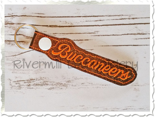 Buccaneers In The Hoop Snap Tab Key Fob Machine Embroidery Design