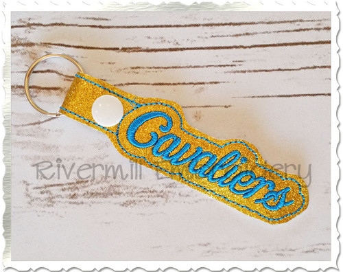 Cavaliers In The Hoop Snap Tab Key Fob Machine Embroidery Design