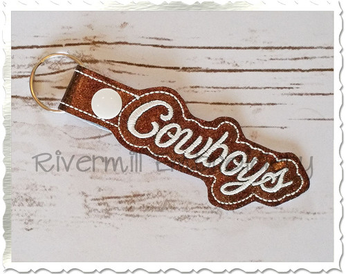 Cowboys In The Hoop Snap Tab Key Fob Machine Embroidery Design