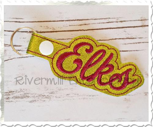 Elks In The Hoop Snap Tab Key Fob Machine Embroidery Design