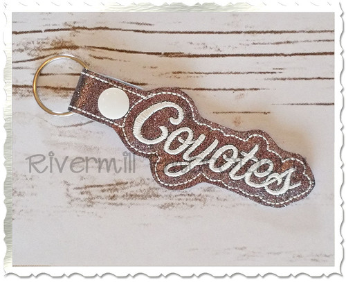 Coyotes In The Hoop Snap Tab Key Fob Machine Embroidery Design