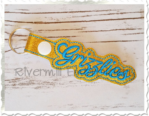 Grizzlies In The Hoop Snap Tab Key Fob Machine Embroidery Design