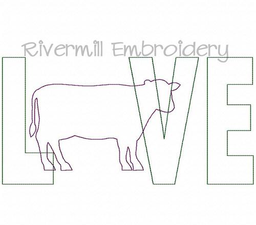 Raggy Applique Cow Love Machine Embroidery Design
