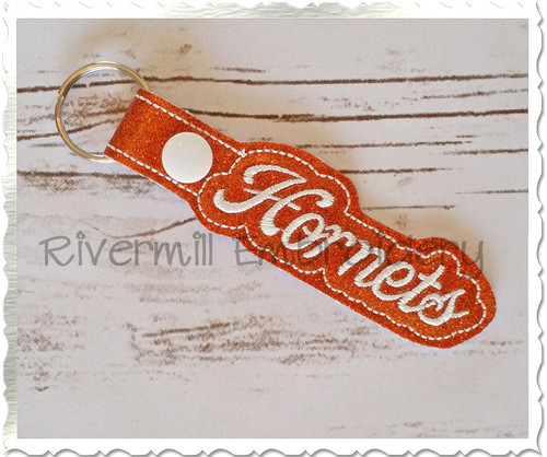Hornets In The Hoop Snap Tab Key Fob Machine Embroidery Design